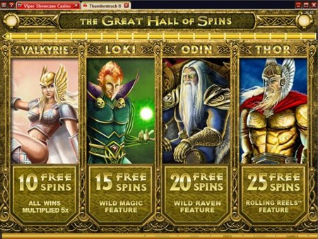 Thunderstruck II Slot Bonus Selection Screen