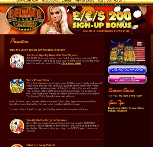 The Grand Online Casino Lobby